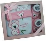 Item number 1230 - Koala Gift Set - Pink Booties, Bib and Hat - Pink  For more details, please visit our facebook page. www.facebook.com/popitinaboxbusiness
