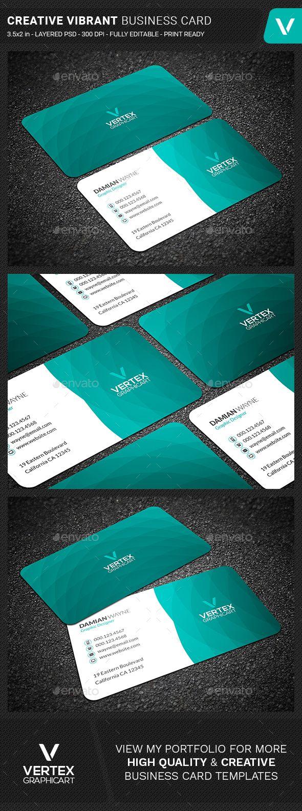 creative vibrant business card template psd