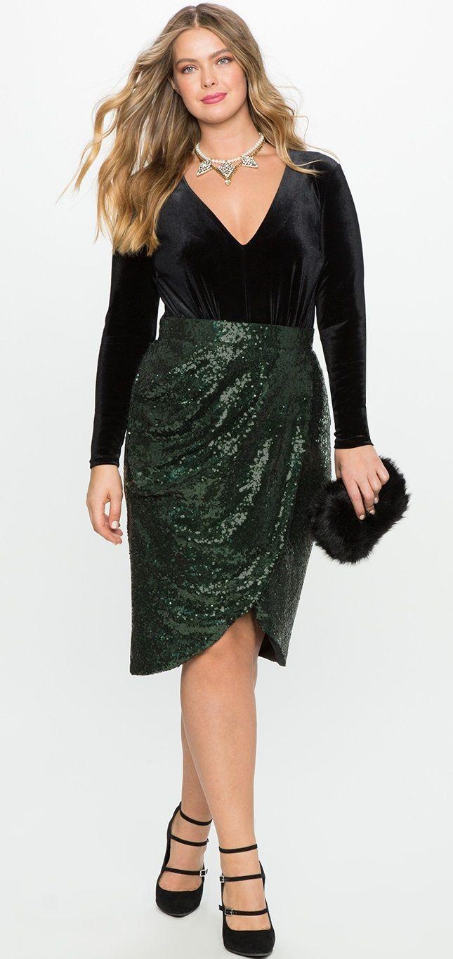 Plus Size Sequin Tulip Skirt