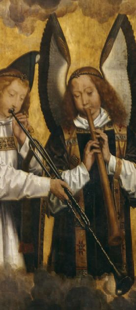 BAZUIN en SCHALMEI (rechts) - ANGELS MUSICIANS - Hans Memling (1435-1494) Angel Musicians (left panel), 1480s, (fine arts Bruges)