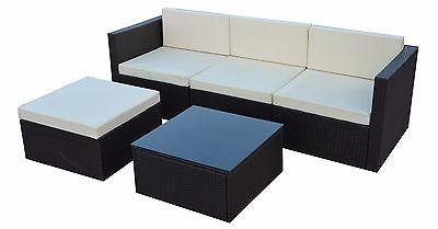 Polyrattan Gartenmöbel Set Gartengarnitur Sitzgruppe Lounge GM12PRA Schwarz
