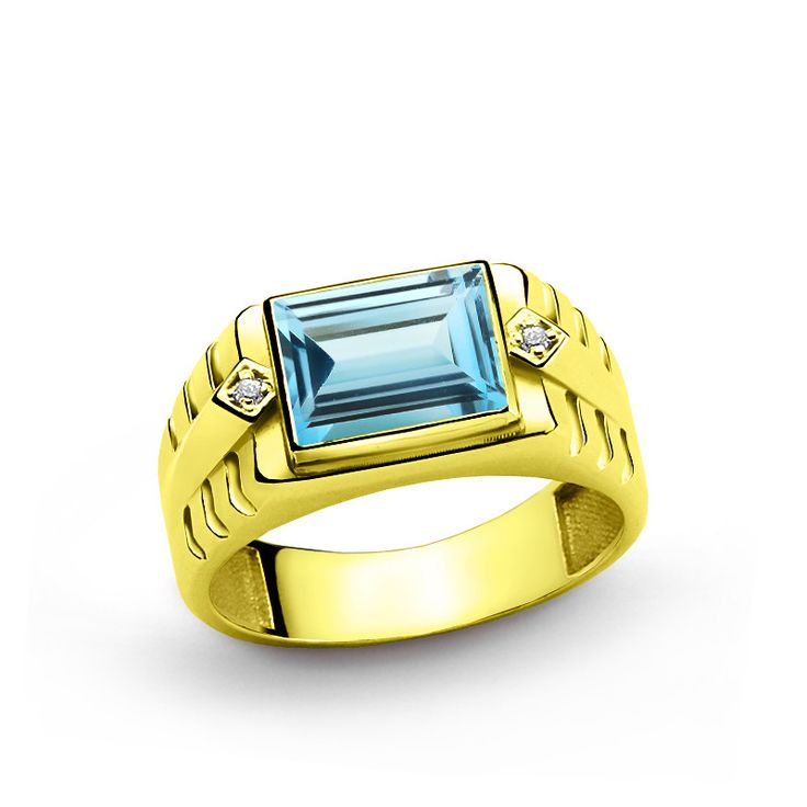 10 K Solid Yellow Gold Men s Ring with 3 40 ct Topaz and 0 02 ct Diamonds $249.00 - 269.00