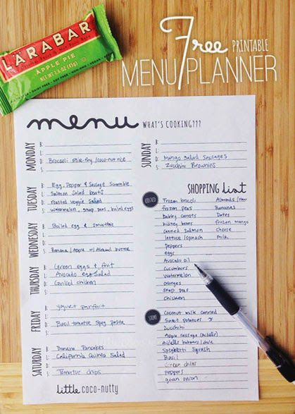 Free Menu Planner Printable | little coconutty
