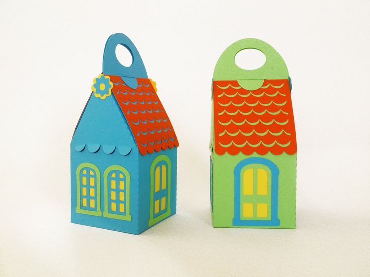 house box paper cut with red roof - 2.4x2.4x4inch custom color ready made by RubiaCraft on Etsy