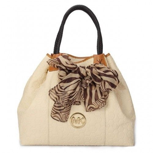 Michael Kors Scarf Jacquard Large White Shoulder Bags