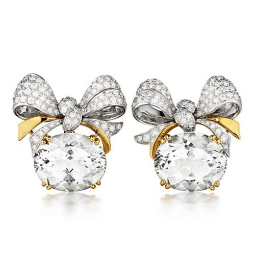Verdura: 18K Yellow, Yellow Gold, Diamonds, Bowknot Earclip, Faceted White, Oval Faceted, Jewellery Design, White Topaz, Earrings