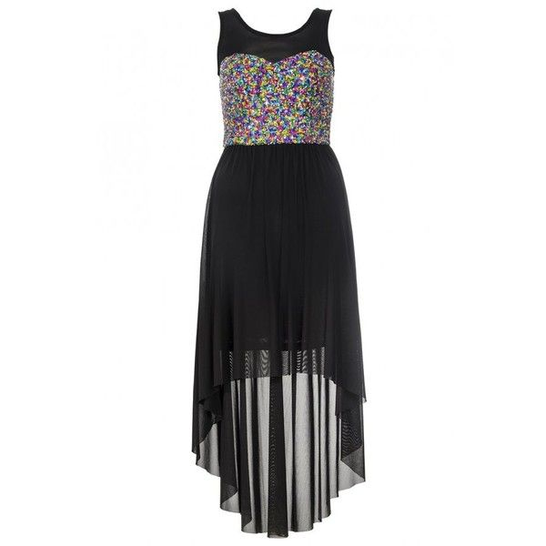 Multi Coloured Sequin Dip Hem Dress - Quiz Clothing ($39) ❤ liked on Polyvore