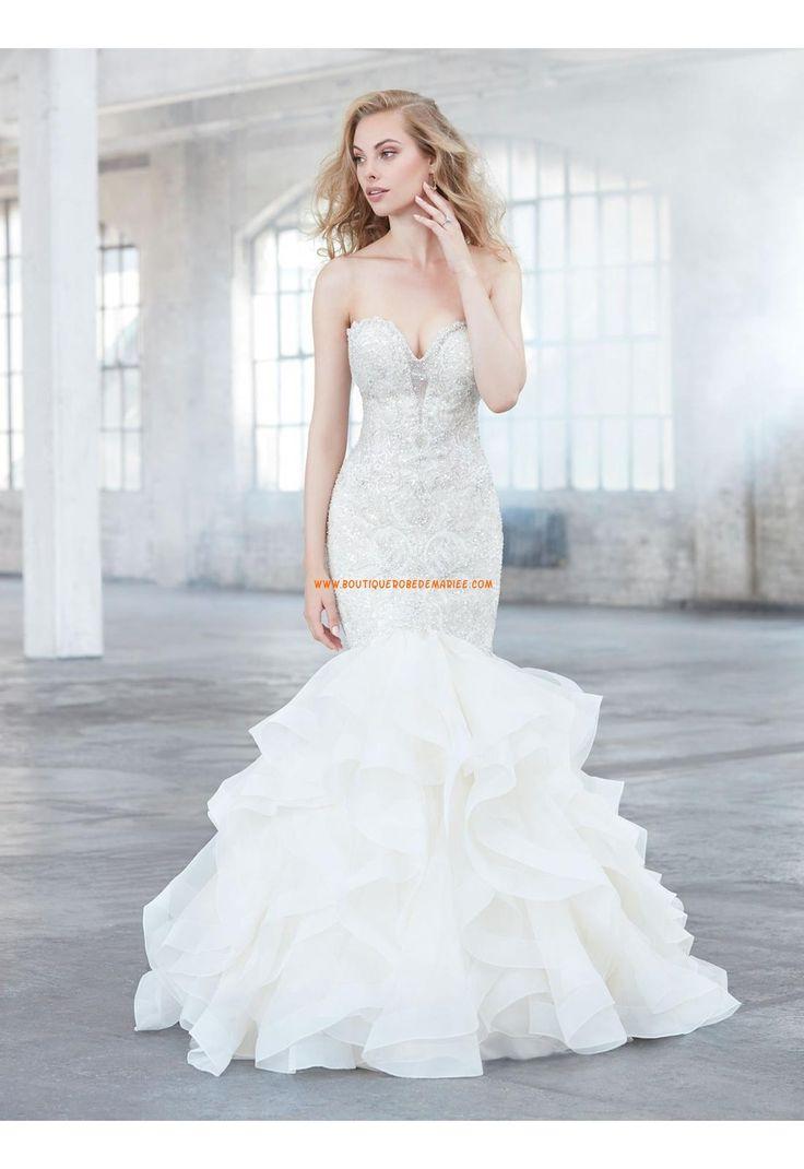 Robe de mariée organza sans manches dos nu col en coeur sirène