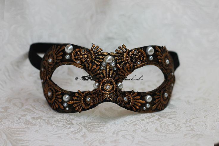 """Купить Карнавальная маска """"Венецианский Узор"""" - золотой, черный, черная маска, венецианская маска"""