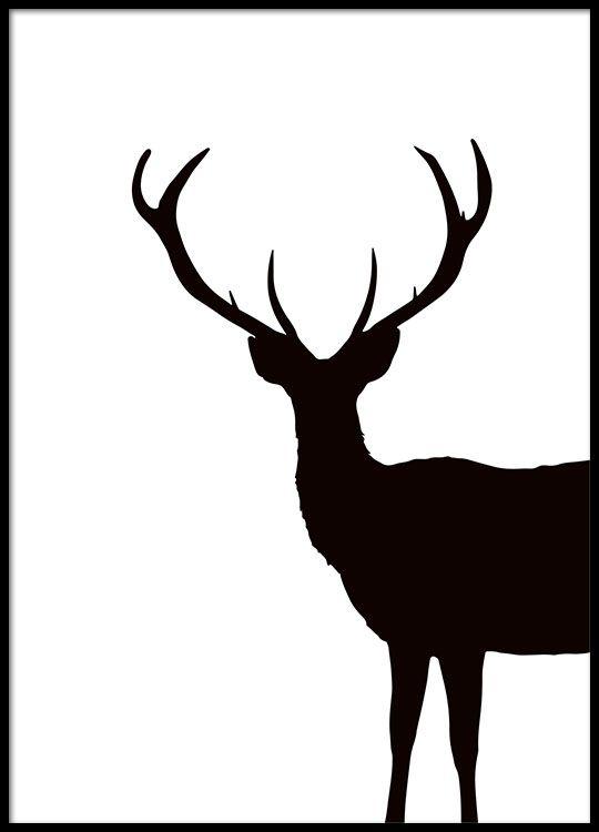 Zwart-wit print van hert, grafische poster
