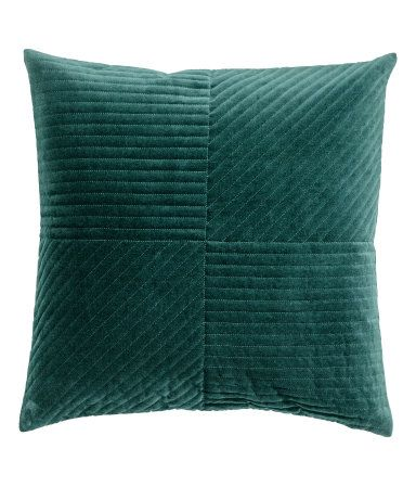 $17.99 Dark green. Cushion cover in quilted cotton velvet with a concealed zip.