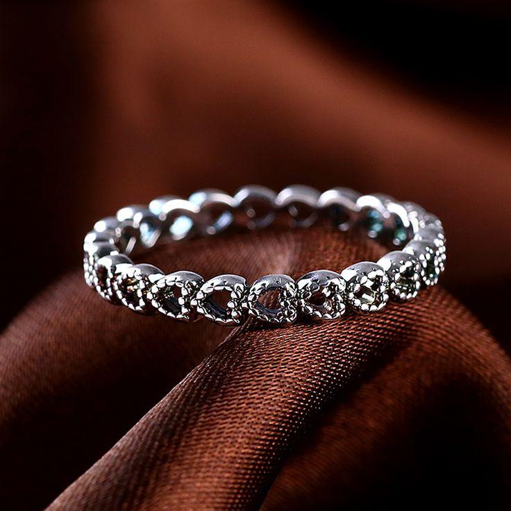 本物の925スターリングシルバー結婚指輪中空アウトハート女性リング互換欧州フィットパンドラオリジナルリングr44