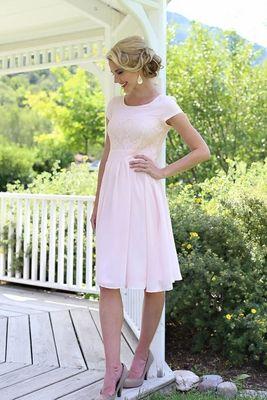 """Isabel"" Modest Dress in Light Pink http://www.jenclothing.com/mi-mds001-isabel-ltpnk.html"