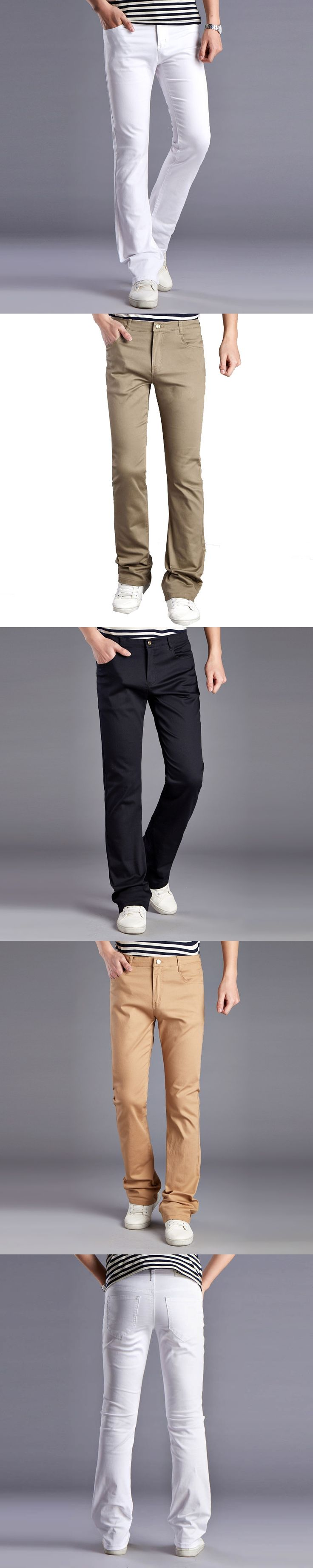 Men White Designers  Jeans Pants Fashion Casual Mens Wide Leg Bell Bottom Jeans Men's  Slim Denim Trousers