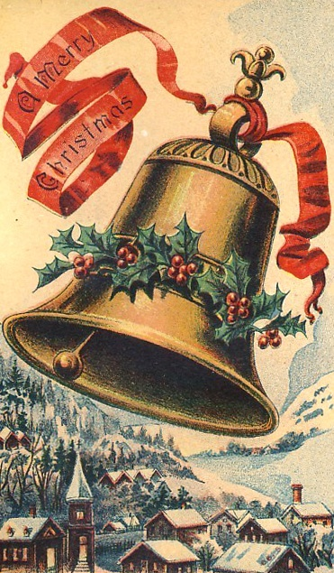 """ A Merry Christmas"" Bell antique postcard."