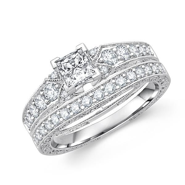 Simple Beautiful cathedral setting of this princess cut diamond wedding ring in milgrain details Buy Now