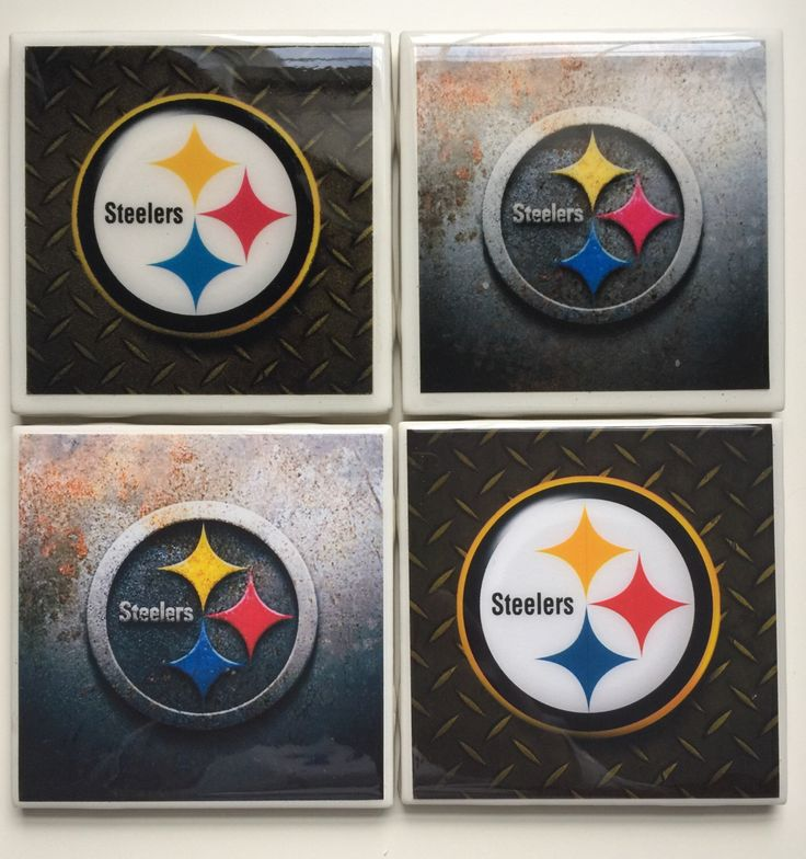 Set of 4 Pittsburgh Steelers Ceramic Resin Tile Coasters by ArtsyPallets on Etsy https://www.etsy.com/listing/499629247/set-of-4-pittsburgh-steelers-ceramic