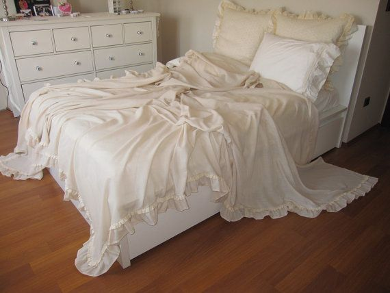 Shabby Chic Ruffled Bedding Bed Cover -solid Champagne