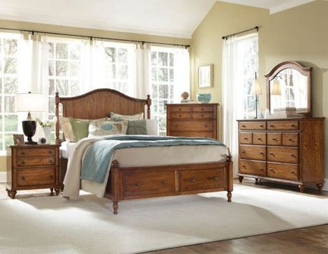 Hayden Place Queen Storage Panel Bed - Oak Finish by Broyhill