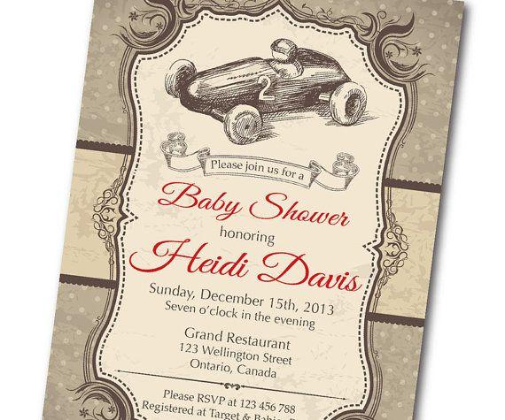 Vintage Race Car Baby Shower Invitation. Retro Baby Boy Shower Invite. Formula one racing. Any custom color. DIY digital printable. on Etsy, $10.00