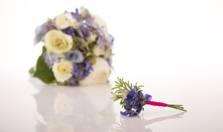 "Shown with Matching ""Larkspur"" Boutonniere"