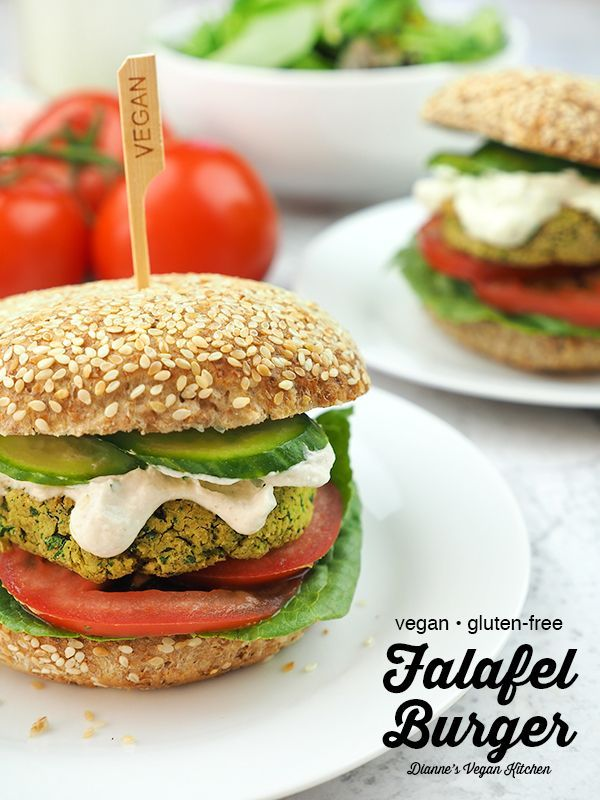 Baked Vegan Falafel Burgers are the ultimate summertime meal! Topped with tahini dressing, cucumbers, tomatoes, and your favorite fixings, this easy falafel recipe is perfect for lunch or dinner!