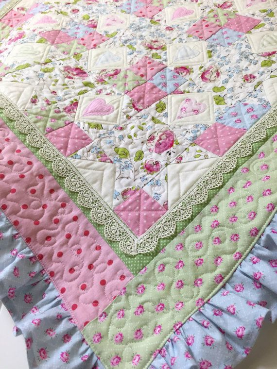 Baby Girl Quilt - NEW - Vintage Look Quilt - Cottage Chic -  Quilt - with Lace - Ribbon - Ruffles