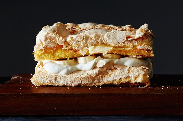 The World's Best Cake Recipe–I'd use berries rather than bananas and coconut, perhaps. Layers of cake and meringue with whipped cream!
