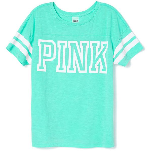 tees tanks ($27) ❤ liked on Polyvore featuring tops, shirts, t shirts, t-shirts, shirts & tops, green shirt, victoria secret shirts, victoria secret tops and victoria's secret