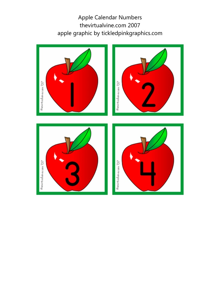 Apple Calendar Numbers thevirtualvine com apple graphic by tickledpinkgraphics