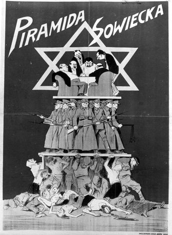 """Poland, An antisemitic propaganda poster. It says in Polish: """"The soviet pyramid"""". The drawing depicts soviet workers and farmers suffering under the weight of the soviet army. On top of the army are bankers and Jews who are speaking to Stalin."""