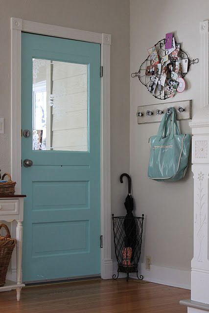 "{aqua door} ""Aquaduct"" by Sherwin Williams. I love the idea of painting the idea of the front door--makes the entryway pop!"