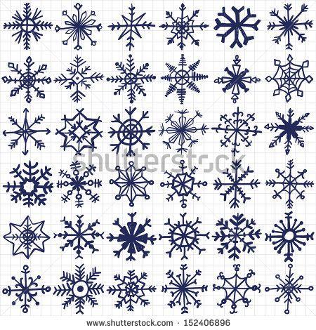 hand-drawn snowflakes set - stock vector