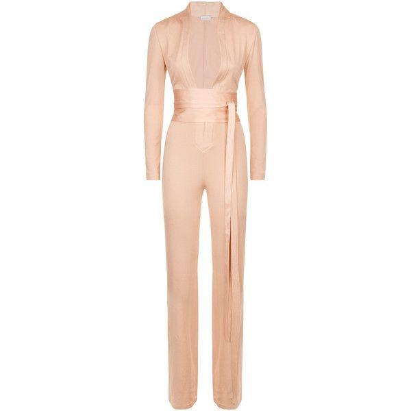 La Perla Essentials Bi-Stretch Silk Jersey Jumpsuit (13.796.220 IDR) ❤ liked on Polyvore featuring jumpsuits, intimates, red jump suit, jersey jumpsuit, la perla, fitted jumpsuit and jump suit