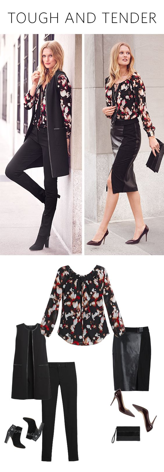 Project laid-back luxury by mixing leather with a soft blouse. This floral blouse will add a touch of romance to these sharply detailed and sleek leather pieces. | White House Black Market