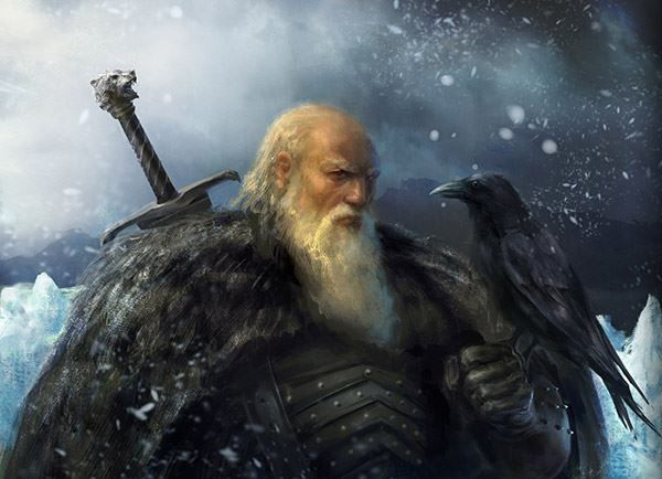 Jeor The Old Bear Mormont, Lord Commander of The Night's Watch. With Longclaw, the Valyrian steel ancestral sword of House Mormont. And the pet crow.