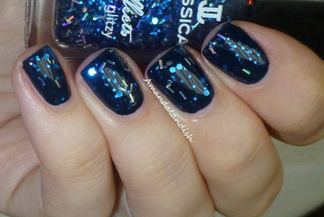 Jessica Nails Effects Glitzy Razzle Dazzle over Blue Aria | Amandalandish