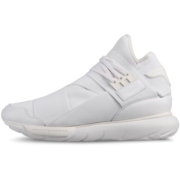 Y-3 Qasa High (€340) ❤ liked on Polyvore featuring shoes, sneakers, white, high top shoes, leather high tops, white high top shoes, hi tops and white trainers
