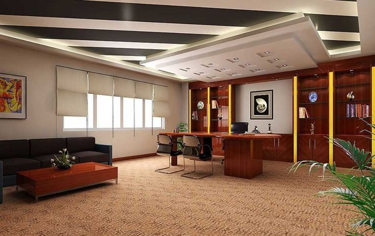 Simple Interior Design of Office with wooden table and black sofa