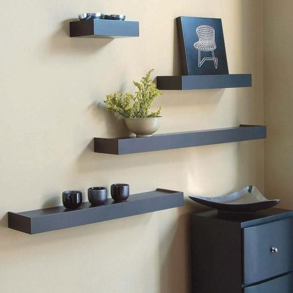 Az Home And Gifts Nexxt Vertigo 24 In L Mdf Wall Ledge Set In Espresso 4 Piece Brown Wall Shelf Decor Ikea Wall Shelves Black Wall Shelves