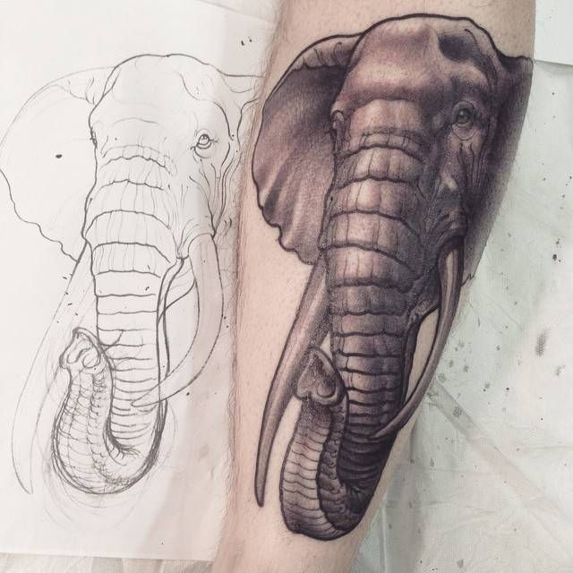 Black And Grey 3D Elephant Head Tattoo Design For Sleeve