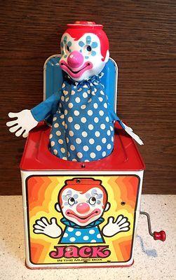Vintage 1971 Mattel Jack in The Music Box Clown Tin Metal Toy