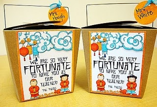 Fortune cookie take out boxes for teacher appreciation