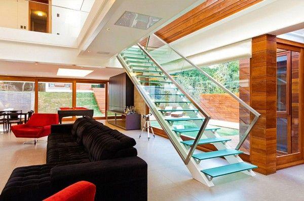 offener Wohnbereich Glastreppe