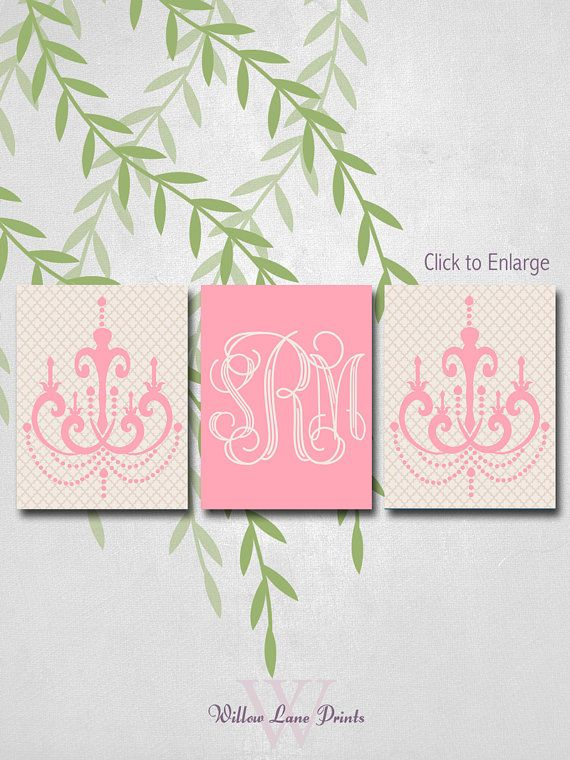 Personalized Gift For Baby Girl, Chandelier Nursery Art, Monogram Nursery  Art, By WillowLanePrints