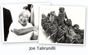 "Joe Talirunili (1893 - 1976). In the 1950s, Talirunili focused more on sculptures, migration scenes of umiaks, Inuit men and women, hunting scenes and caribou. He got into printmaking graphics in the 1960s. In all of Joe's work, sculptures, prints and drawings, he tells stories from his traditions, childhood and people's lives, camp life, hunting scenes, owls, other animals and his famous ""migration"" works. In 1978, one of Joe's sculptures was reproduced on a 1978 Canadian postage stamp."
