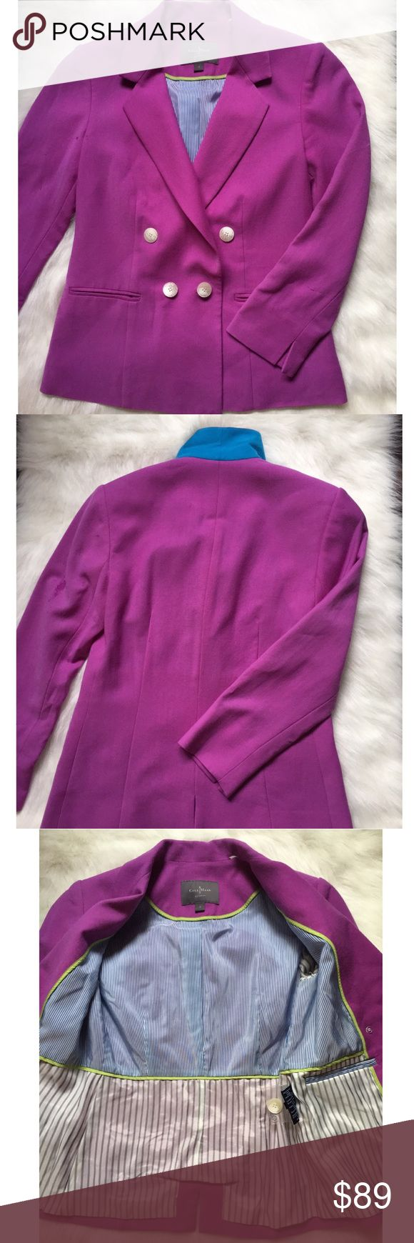 Cole Haan wool magenta double breasted blazer NWOT Cole Haan wool double breasted lined blazer. NWOT. 2 faux pockets in front. Perfect condition! Cole Haan Jackets & Coats Blazers