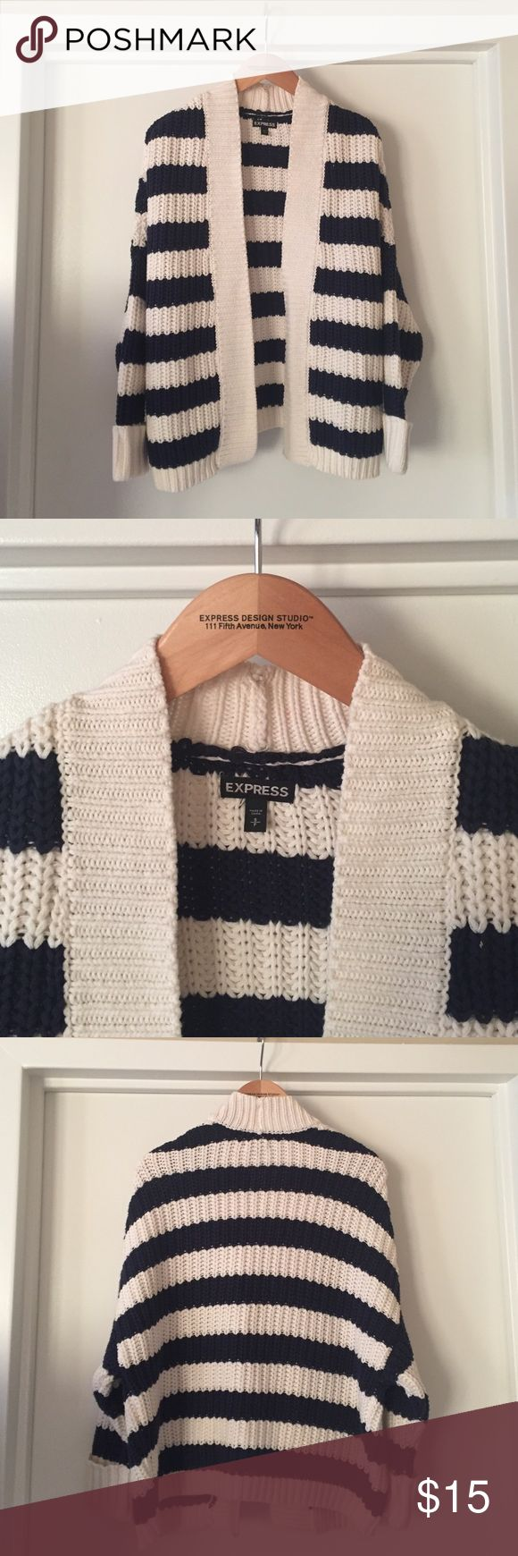Express Striped Cardigan Express blue and cream striped open cardigan. Express Sweaters Cardigans