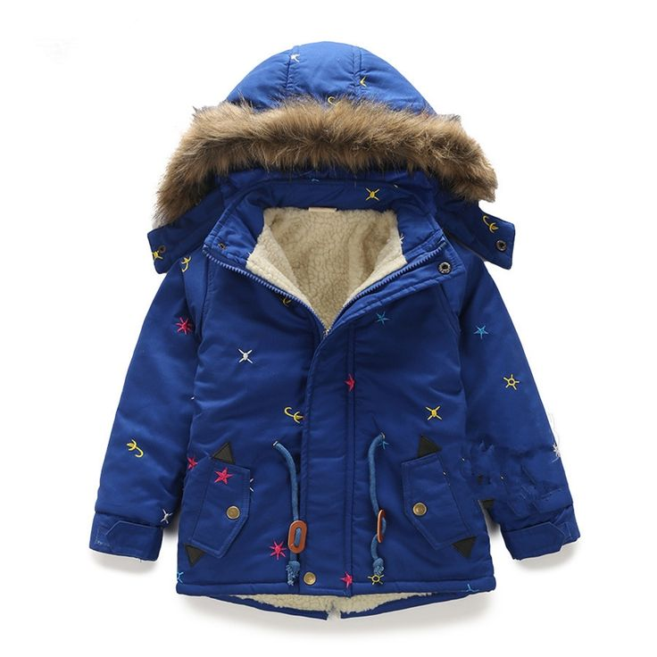 28.40$  Watch now  - LittleSpring Children Winter Coats Long Sleeve Hooded Fur Thicken Kids Boy Clothes 2017 Casual Warm Clothes Baby Boy Trench Coat