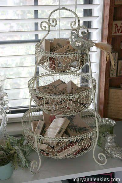 decorative storage ❀ ~ ◊ photo via scrapbook · com ~ (mary ann jenkins scrapbook studio) ~ nice idea